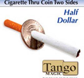 Moneda atravesada por cigarrillo, medio dólar, disponible en Magia Estudio